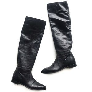 Prada Point Toe Over The Knee Slouchy Leather Boot